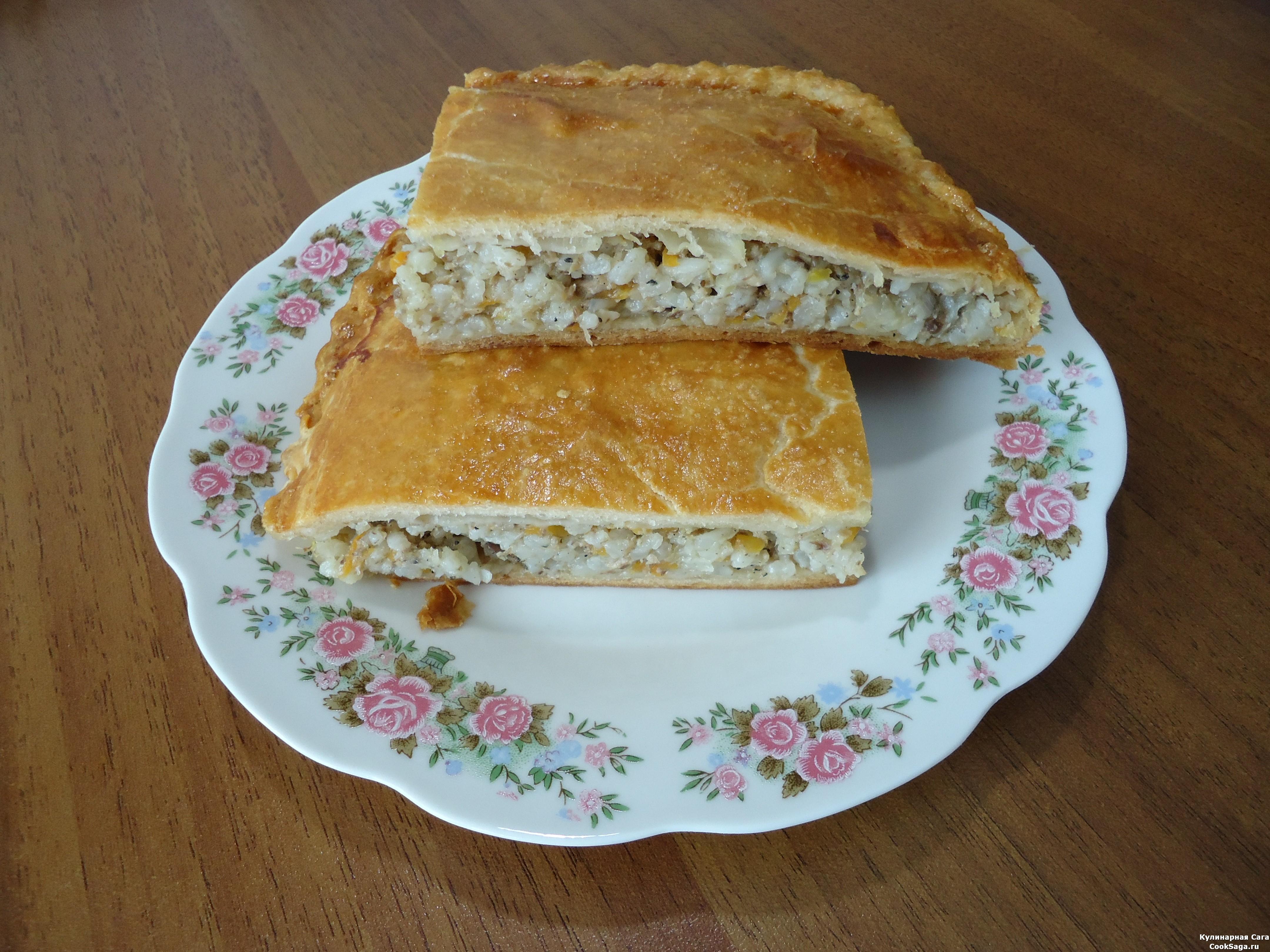 Пирог с рисом и консервой пошаговый рецепт фото